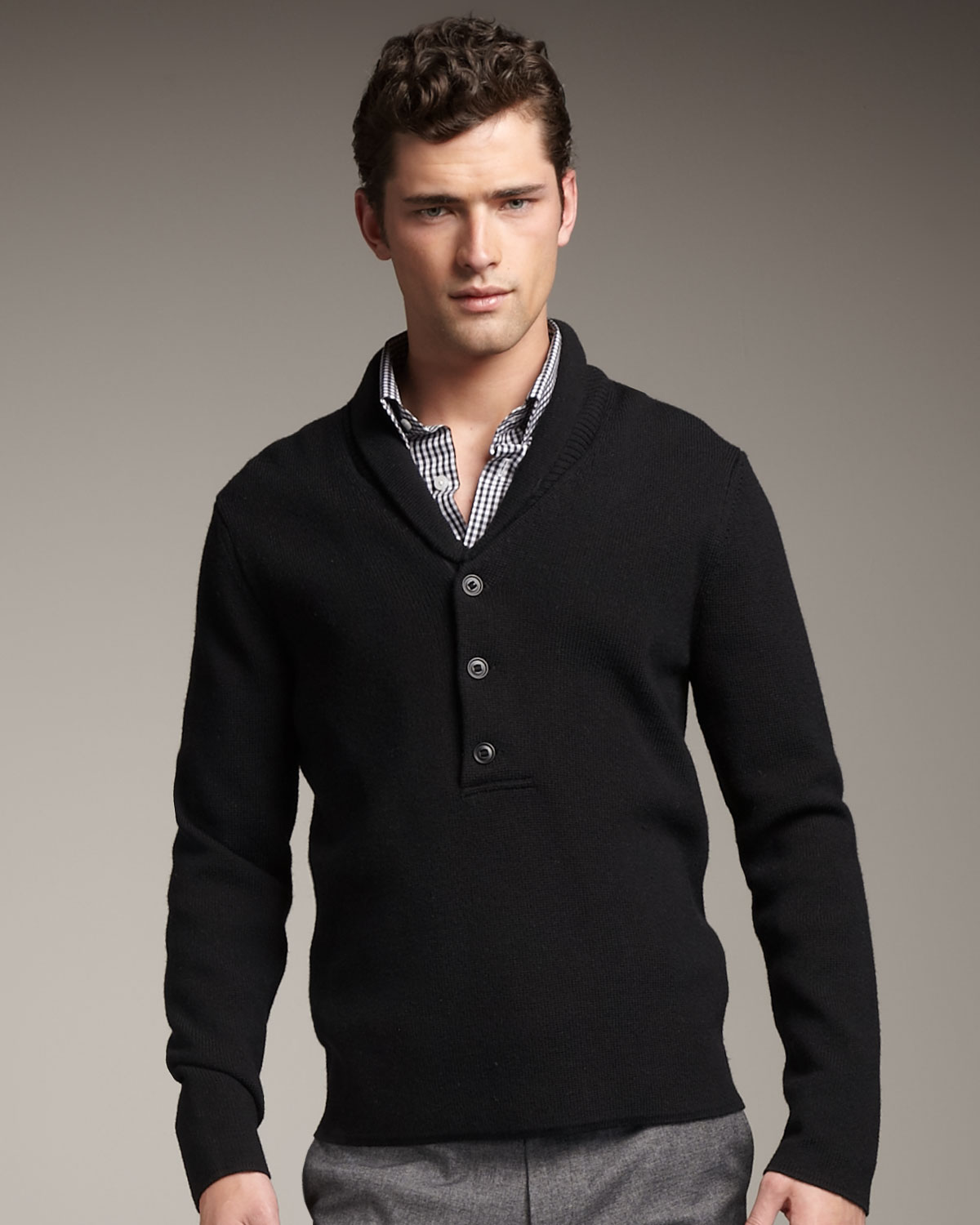 Theory Shawl-collar Sweater, Black in Black for Men | Lyst