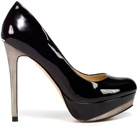 zara patent leather platform court shoe in black lyst