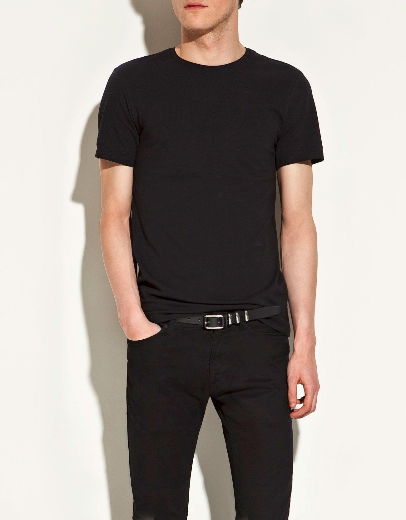 zara slim fit t shirt in black for men lyst. Black Bedroom Furniture Sets. Home Design Ideas
