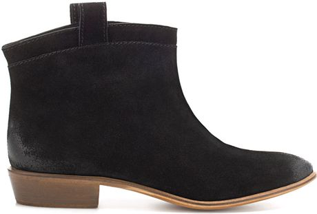 zara suede ankle boot in black lyst