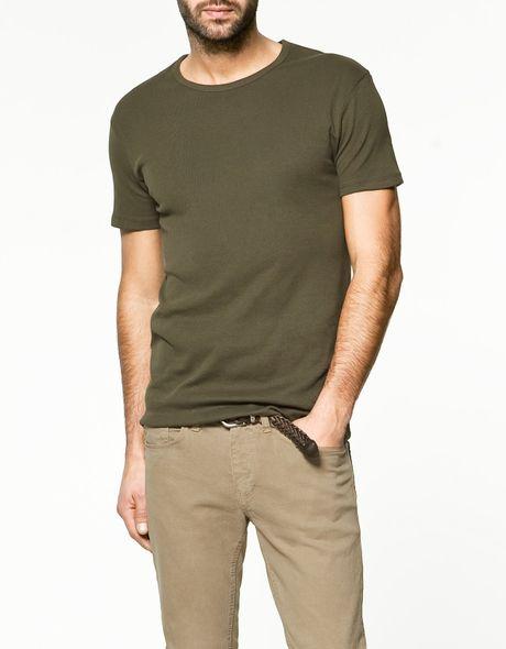 Zara slim fit t shirt in khaki for men lyst for Zara mens shirts sale