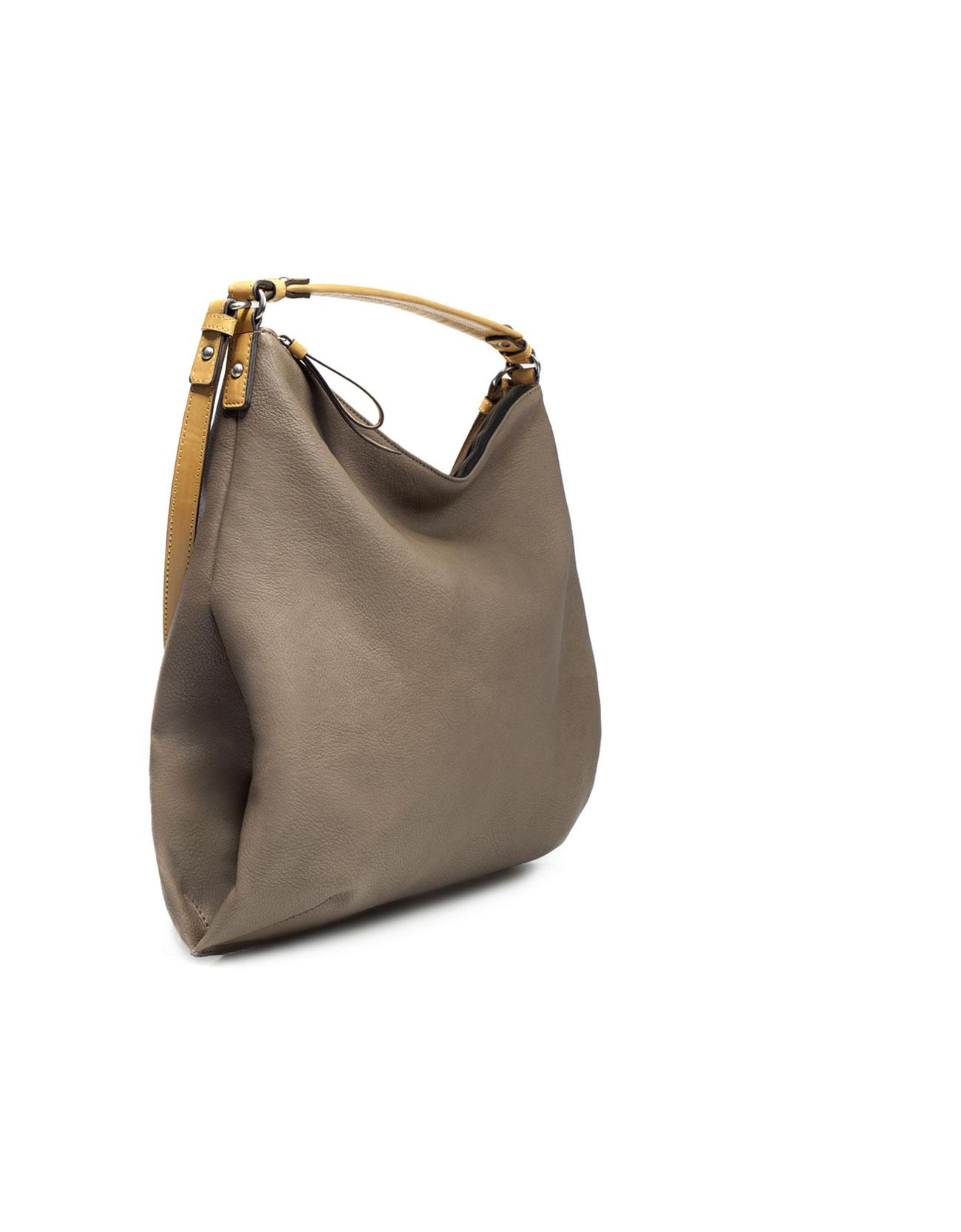 Zara Bucket Bag With Double Handle In Brown Lyst