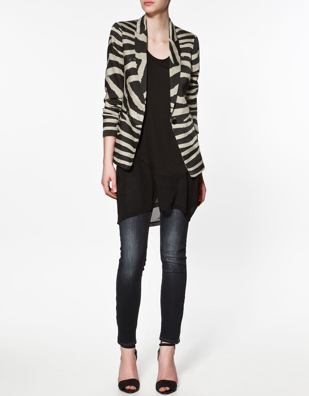 Zara Zebra Print Blazer In Animal Zebra Lyst