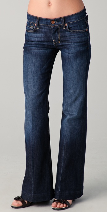 7 for all mankind Dojo Petite Flare Jeans in Blue | Lyst