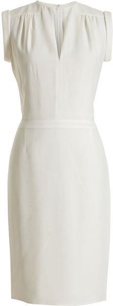 Balenciaga Slit Neck Dress in White