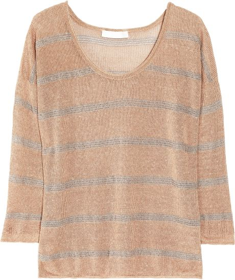 Kain Raine Striped Open-knit Linen-blend Sweater in Brown (café)