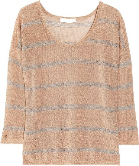 Kain Raine Striped Open-knit Linen-blend Sweater in Brown (café)