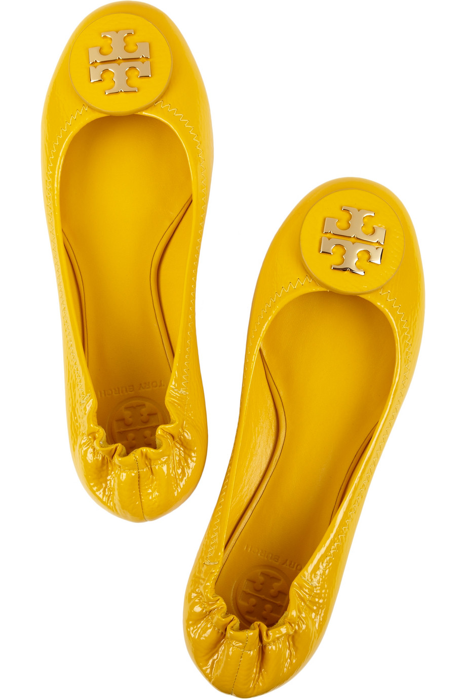 8d2897d7751243 ... denmark lyst tory burch reva tumbled patent leather ballet flats in  yellow 1d2b4 543a7