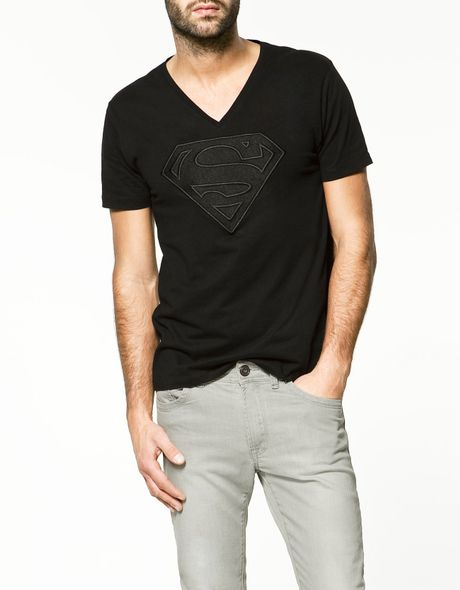 Zara t shirt with embroidered superman in black for men lyst