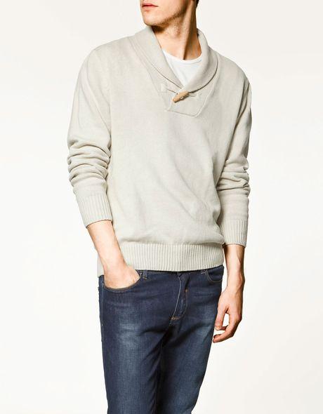 Zara Tuxedo Sweater with Button in Gray for Men (ecru) | Lyst