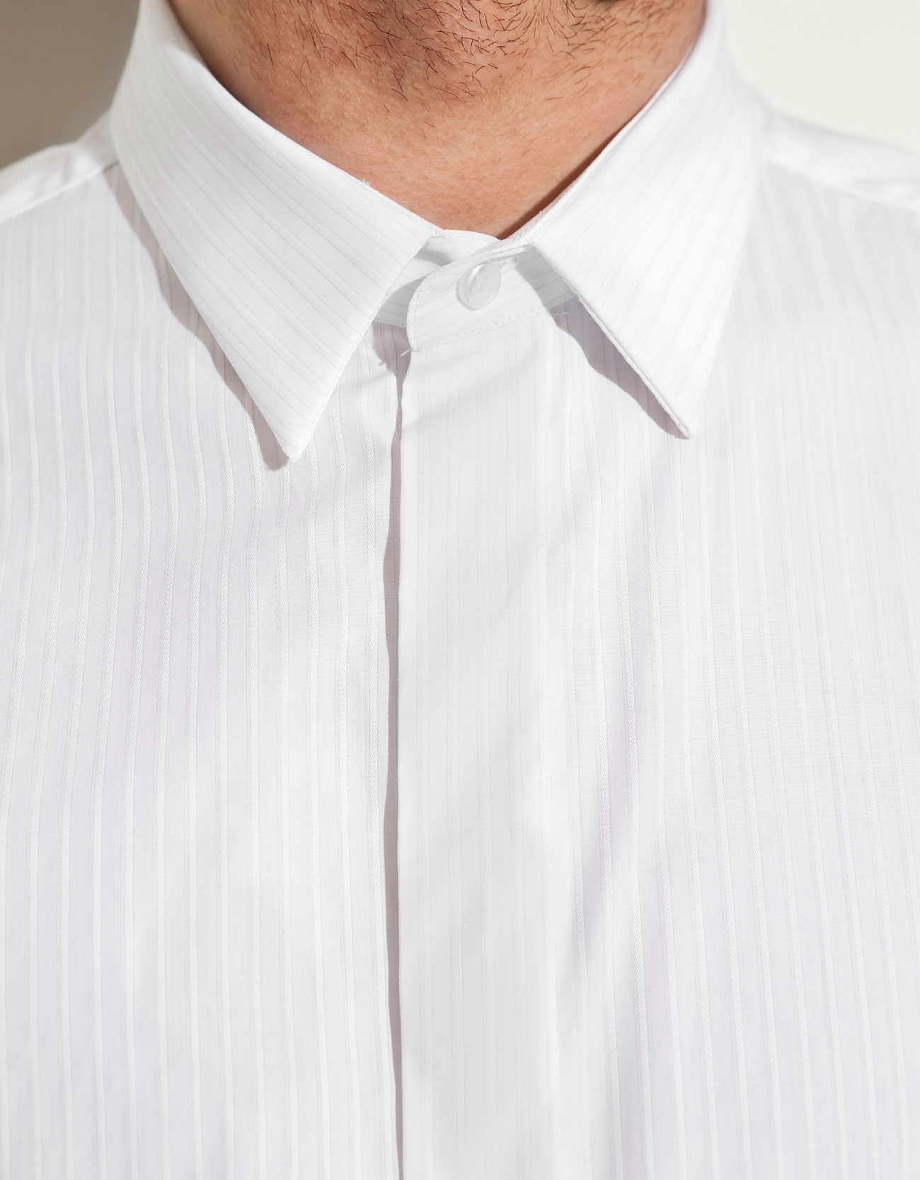 Zara shirt with button less collar in white for men lyst for Three button collar shirts
