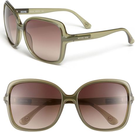 Michael Michael Kors Redonda Square Sunglasses in Green (loden olive)