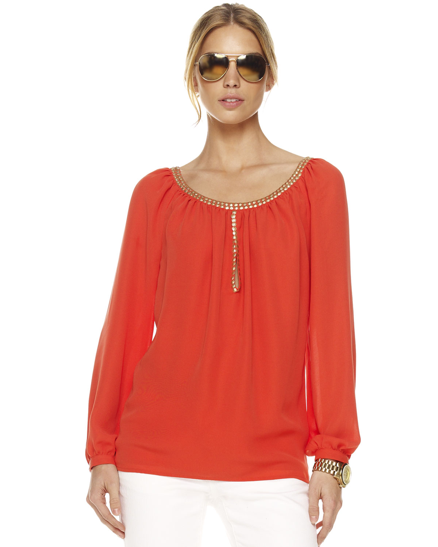 michael kors studded keyhole peasant blouse womens in orange papaya lyst. Black Bedroom Furniture Sets. Home Design Ideas