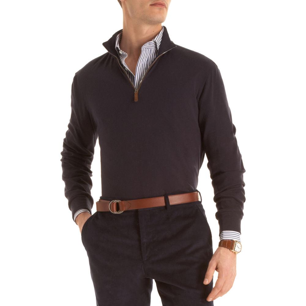 Ralph Lauren Purple Label Half Zip Sweater in Blue for Men (navy) | Lyst