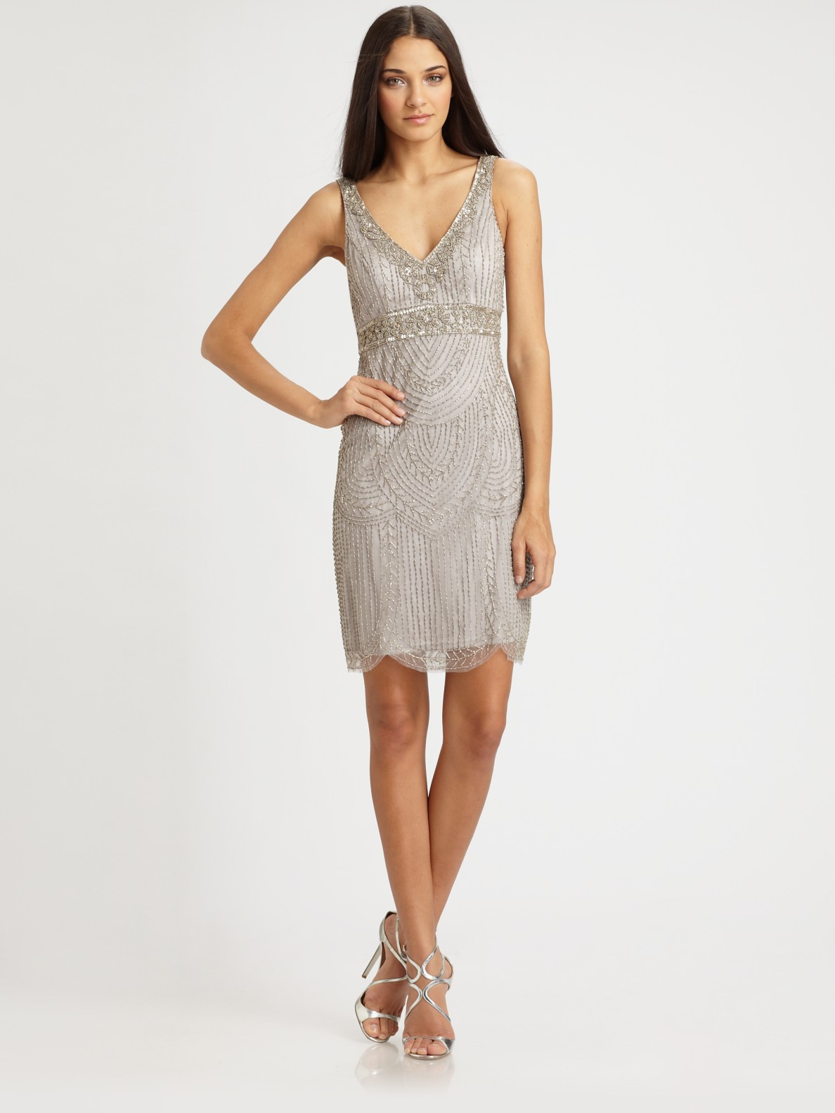 Sue Wong Beaded Dress In Gray Gold Lyst