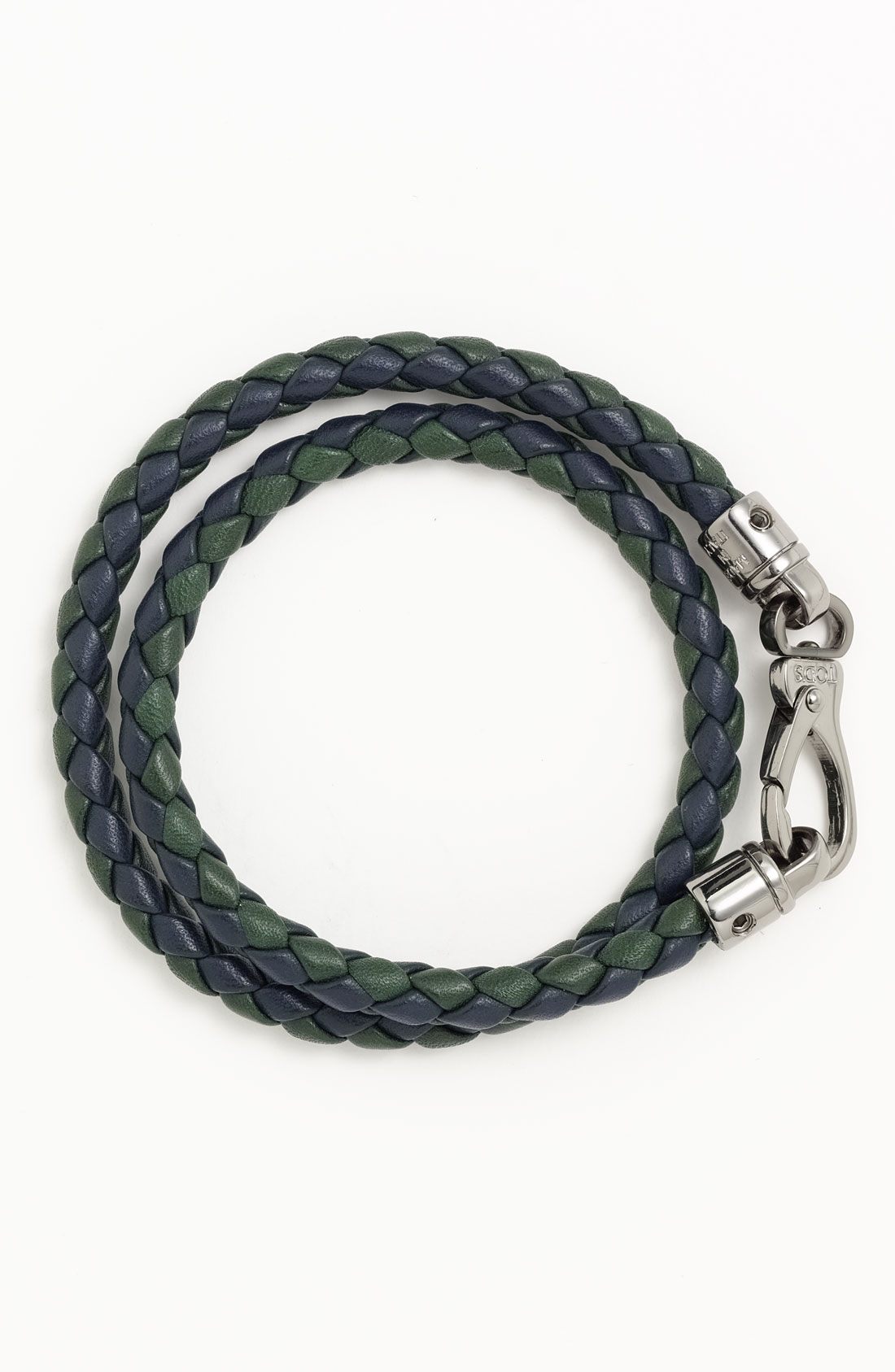 Tod S Braided Leather Bracelet In Green For Men Green And