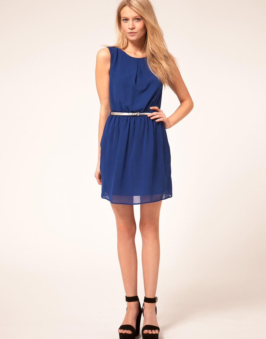 asos collection asos skater dress with belt in lyst