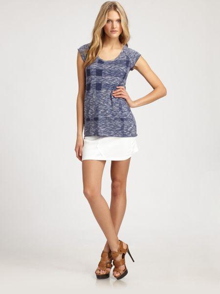 Burberry Brit Short Stretch Denim Skirt in White | Lyst