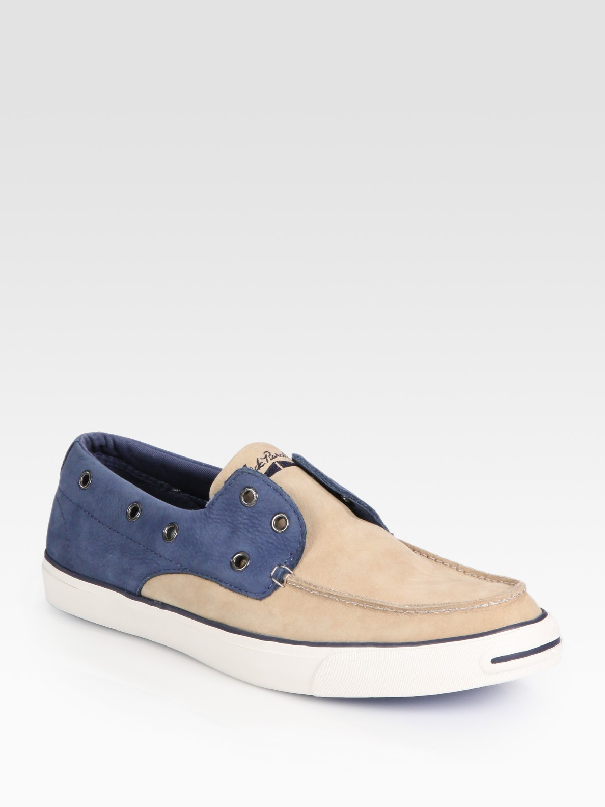 c1bdc1ab3acf ... uk lyst converse jack purcell two tone laceless boat shoes in brown  e8036 fafbb