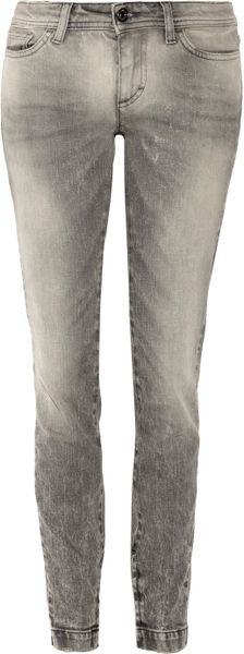 Dolce & Gabbana Pretty Low-rise Skinny Jeans in Gray
