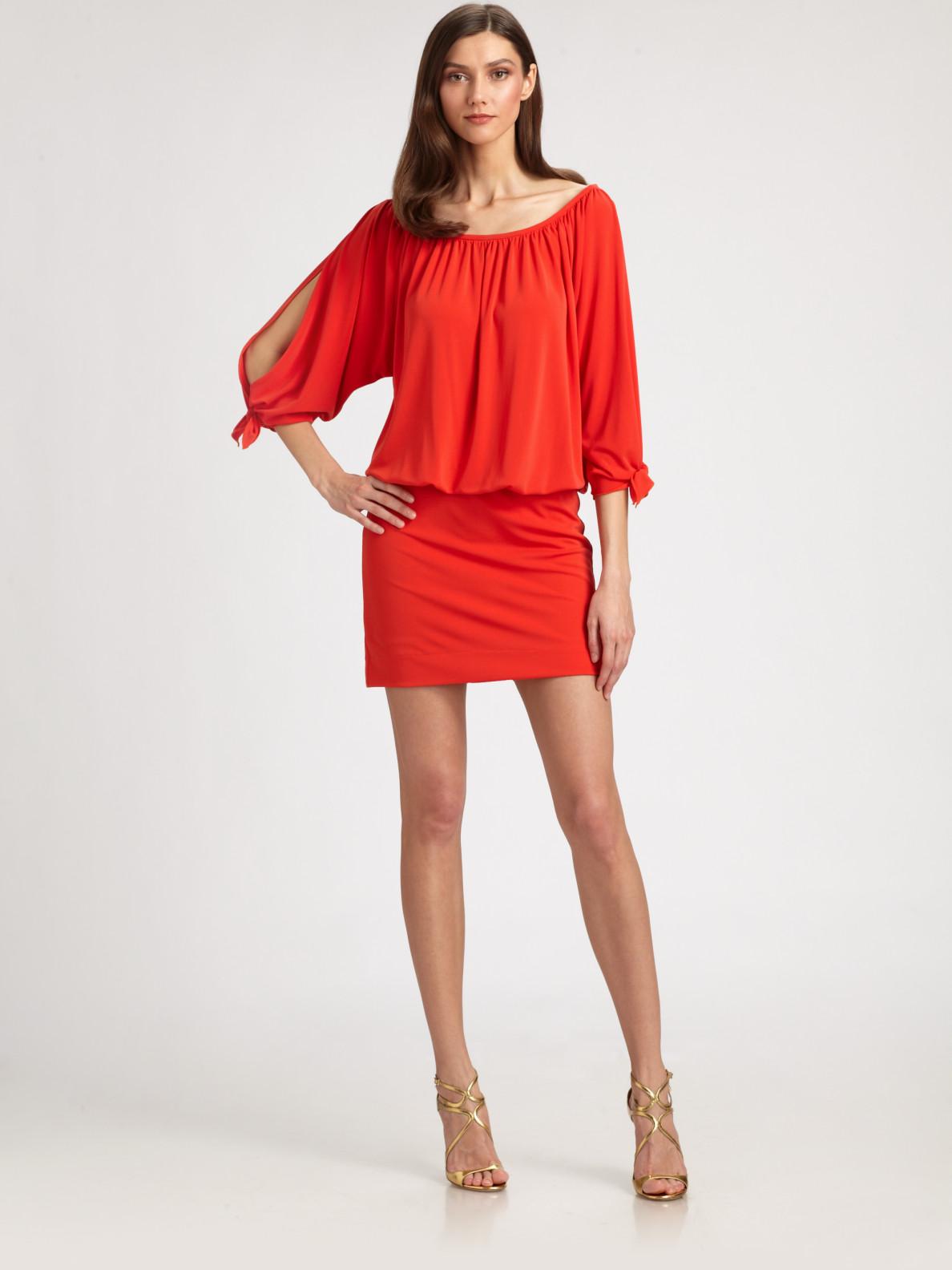 Lyst Nicole Miller Blouson Dress In Orange
