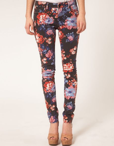 Asos Asos Skinny Jeans in Floral Print in Multicolor ...
