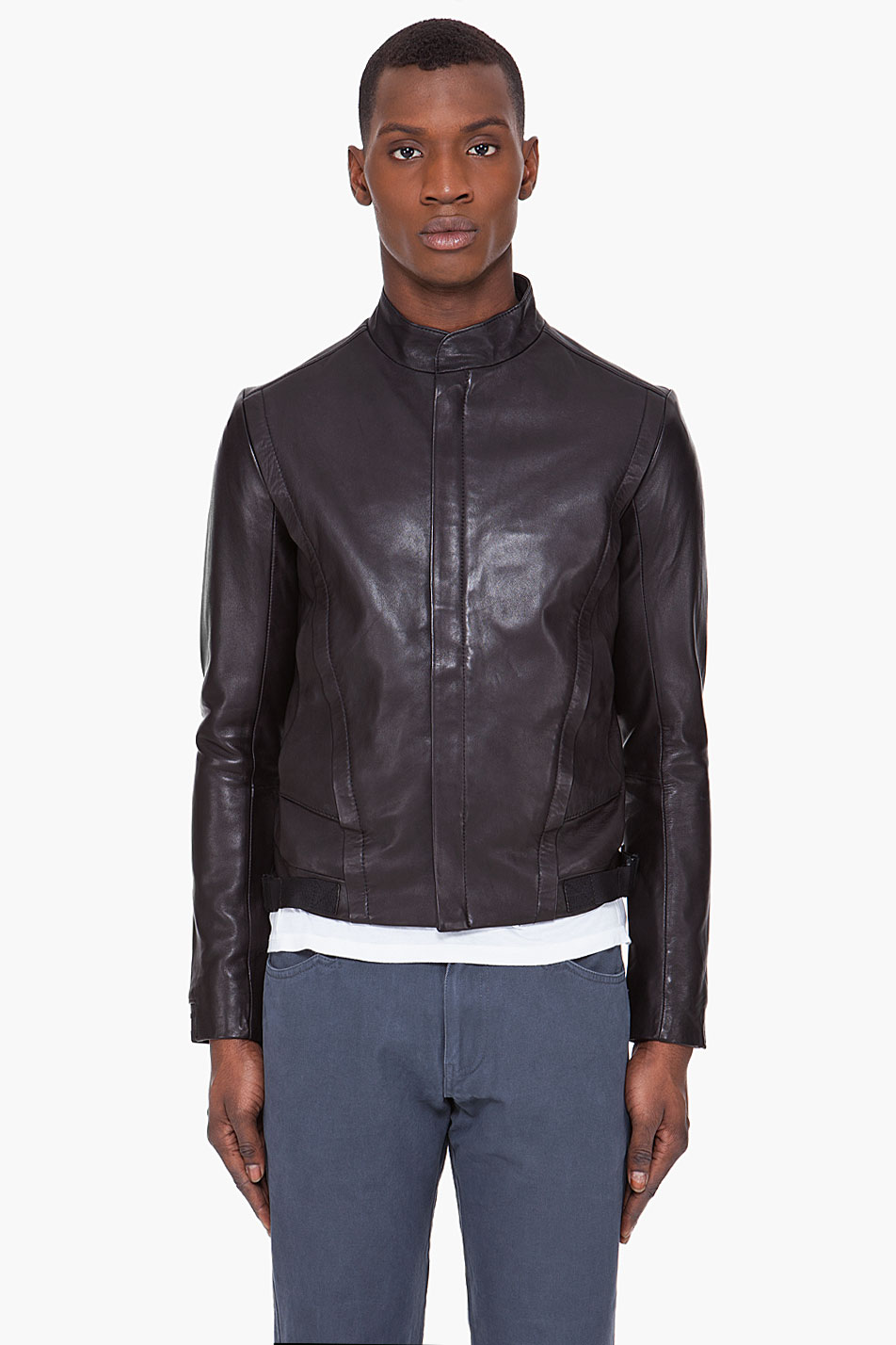 adidas slvr leather blouson jacket in black for men lyst. Black Bedroom Furniture Sets. Home Design Ideas