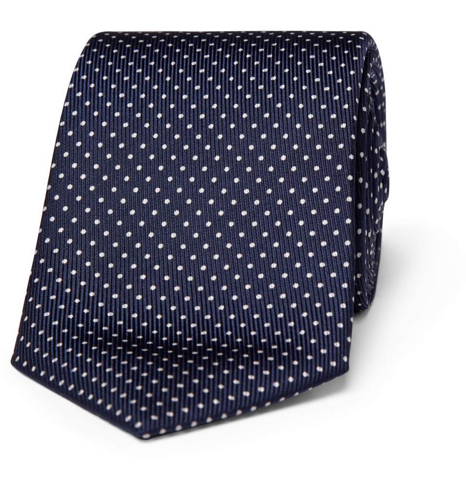 turnbull asser spotted wovensilk tie in blue for