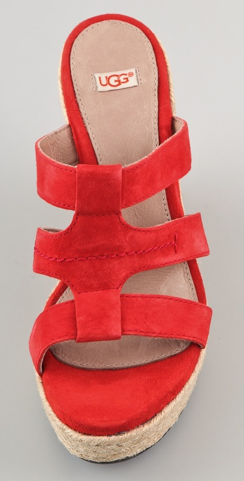 Ugg Tawnie Suede Wedge Sandals In Red Lyst