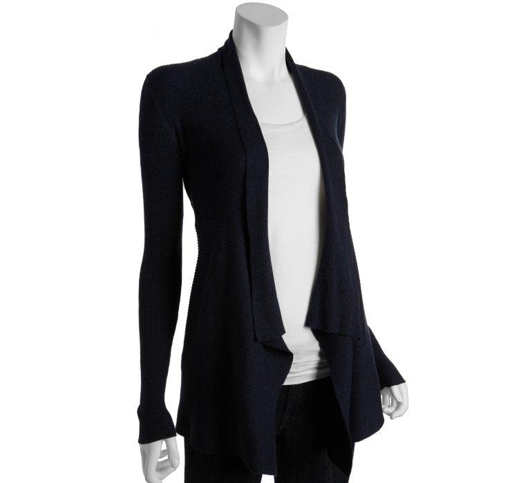 Navy Blue Long Cashmere Cardigan 65