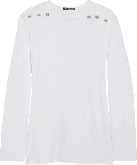 Balmain Embellished Cotton Top in White - Lyst