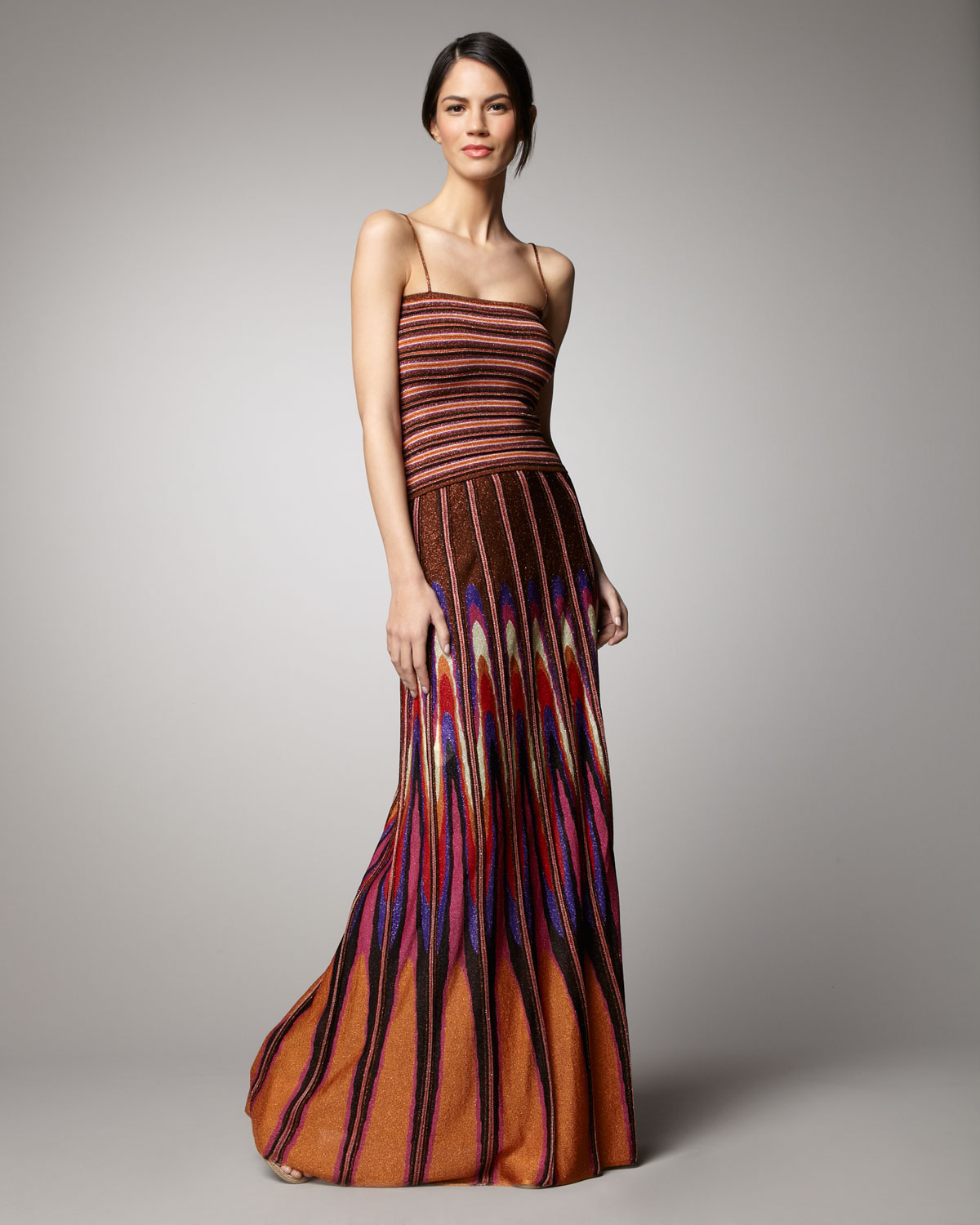 Lyst - M Missoni Shimmery Twist-back Gown in Brown