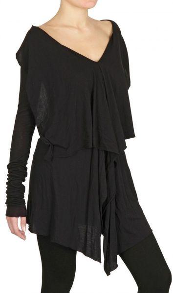 Rick Owens Heavy Viscose Cotton Jersey Dress In Black Lyst