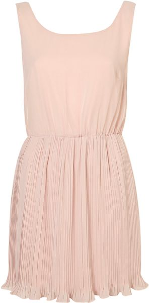 Topshop Pleat Bottom Chiffon Dress By Rare In Pink