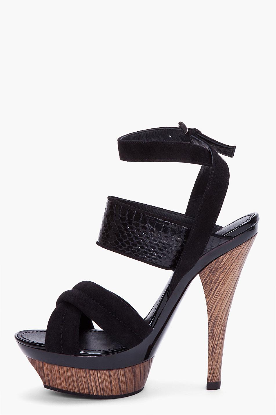 Lyst Barbara Bui Black Suede And Snakeskin Wooden Heels