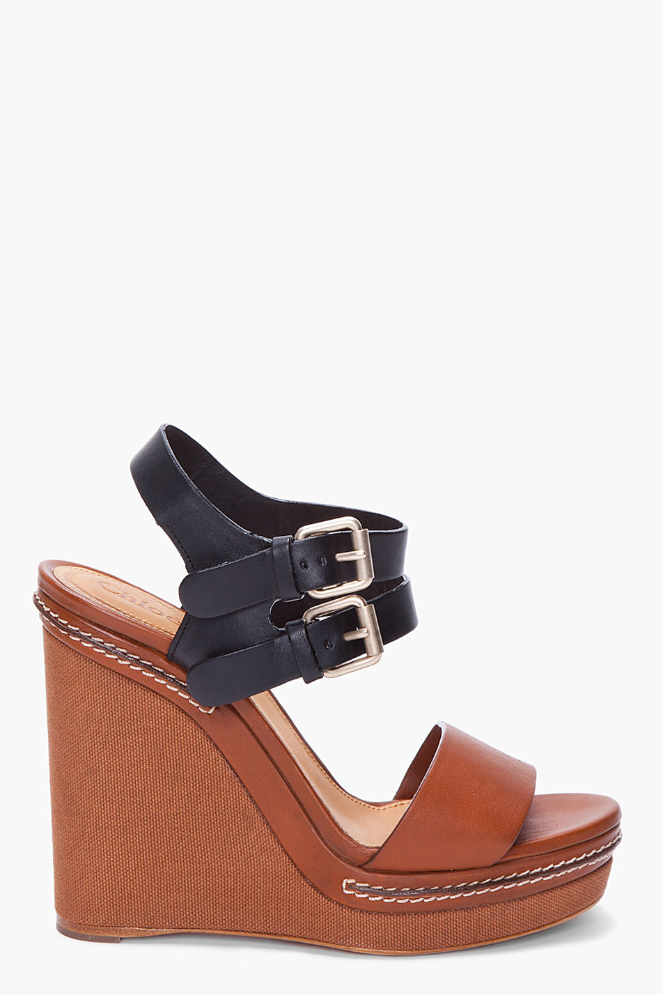 Chloé Black and Brown Wedges in Brown | Lyst