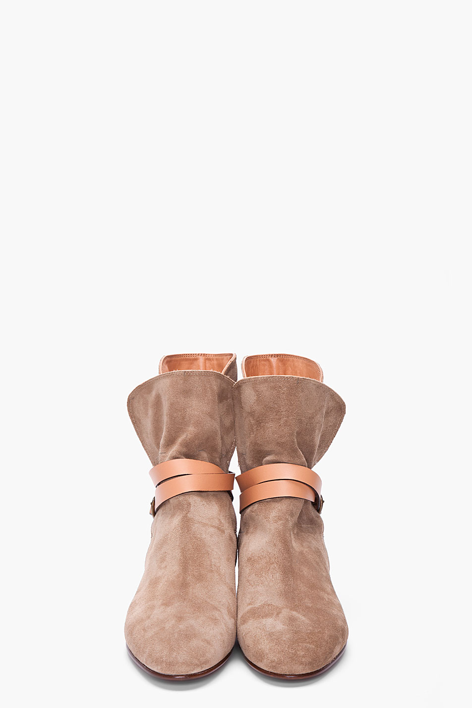 Lyst Chlo 233 Taupe Suede Ankle Boots In Brown