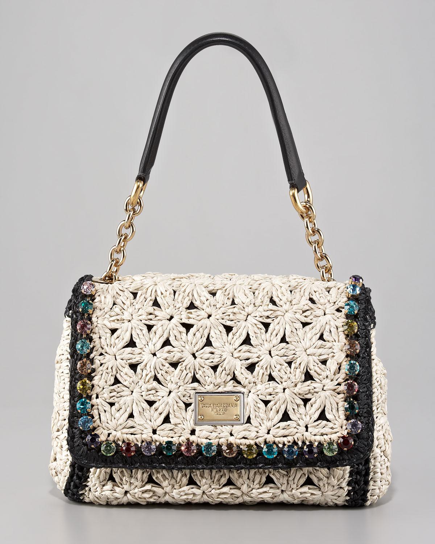 Lyst - Dolce   Gabbana Miss Charles Jeweled Crochet Shoulder Bag in ... 557b6993ddd8b