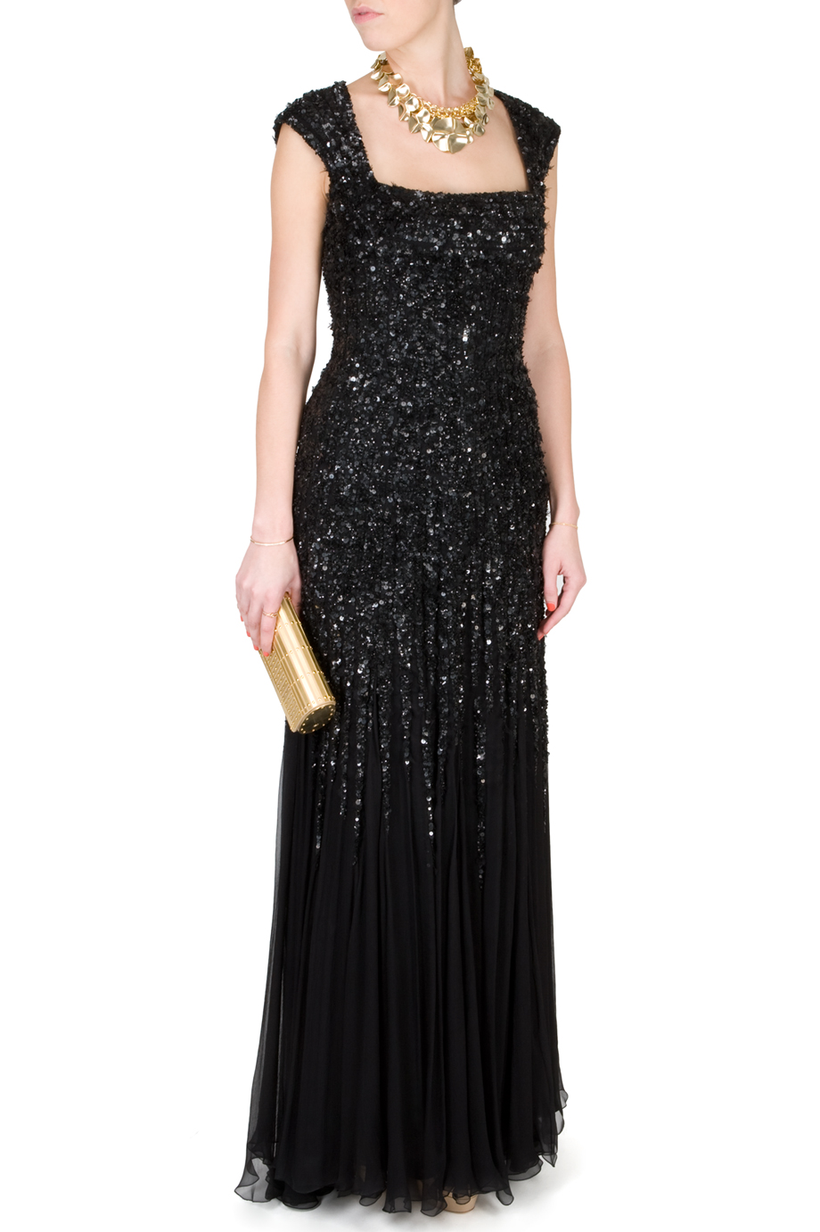 Lyst - Elie Saab Backless Sequin Gown in Black 862a693ba