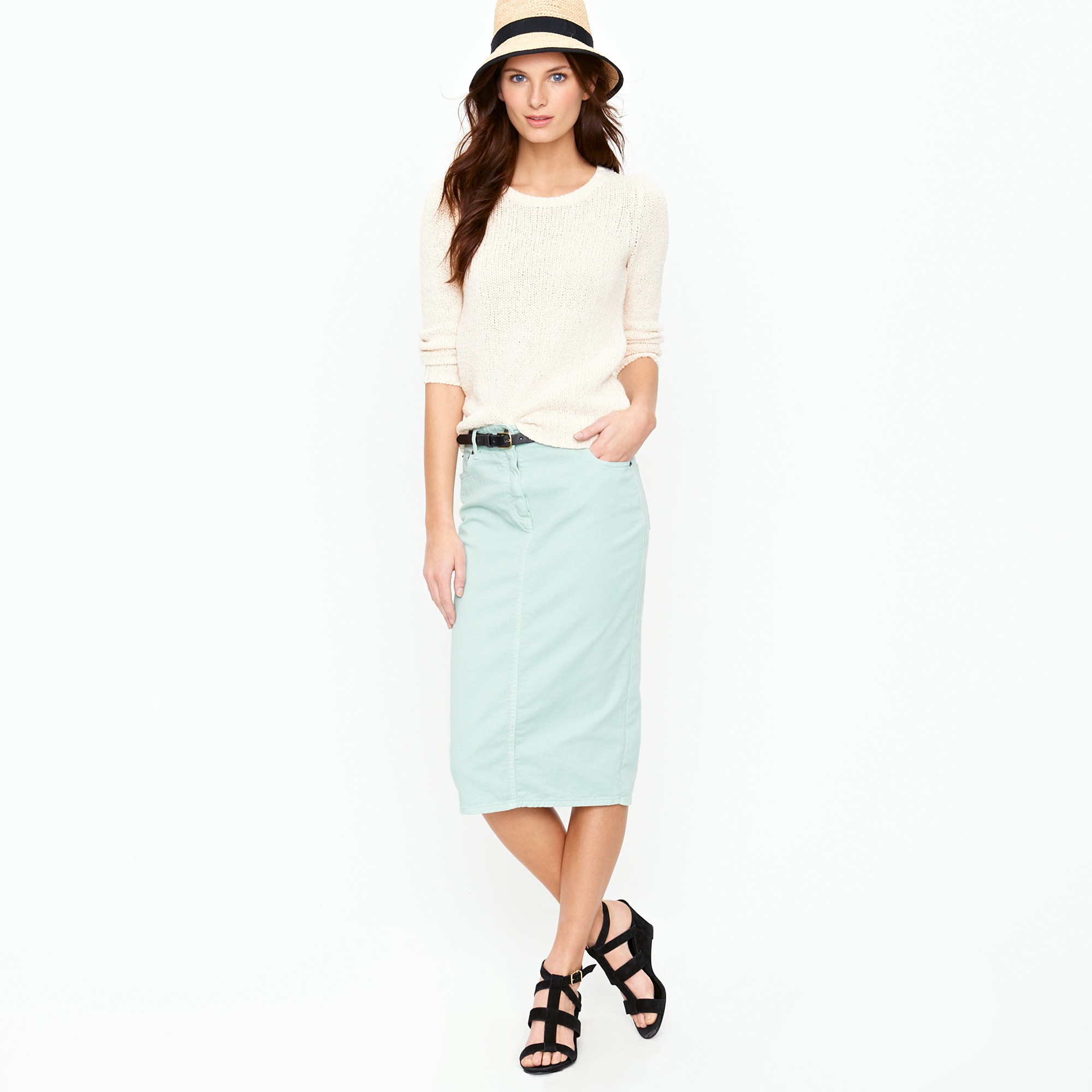 j crew high waisted pencil skirt in garment dyed denim in