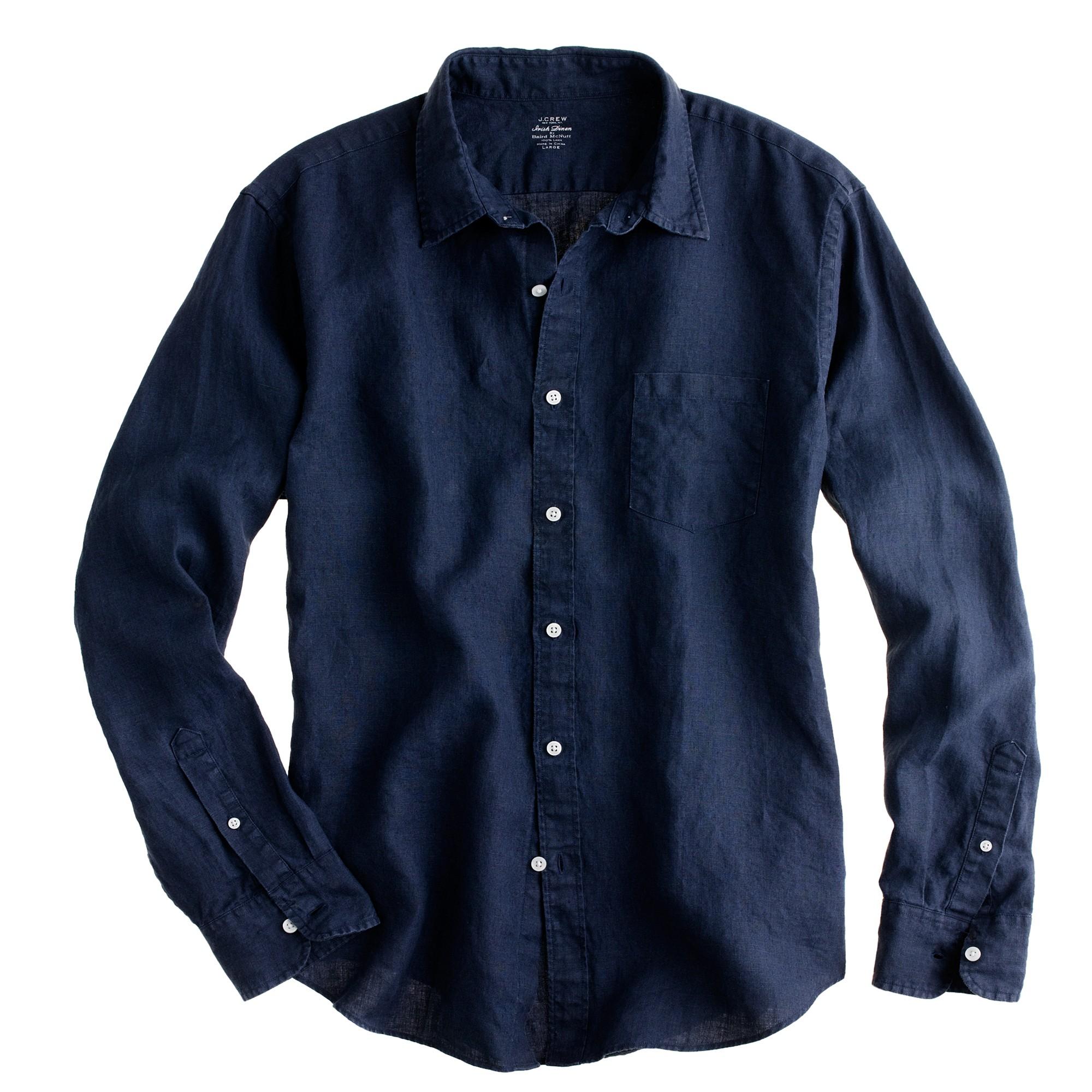 Slim irish linen shirt in blue for men lyst for Irish linen dress shirts