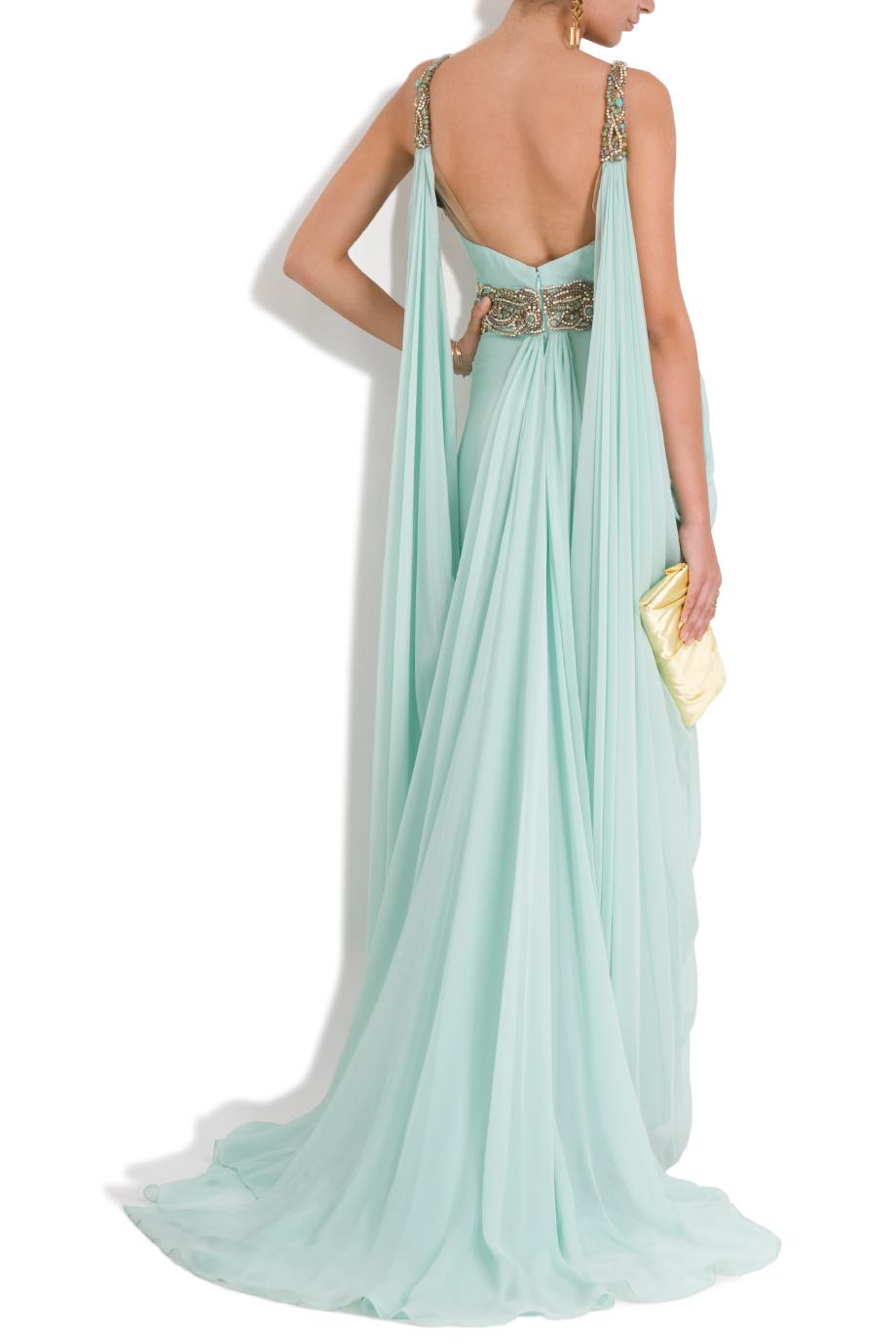 Lyst - Marchesa Chiffon Embellished Grecian Gown in Blue