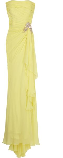 Marchesa Chiffon Embellished Waist Gown in Yellow