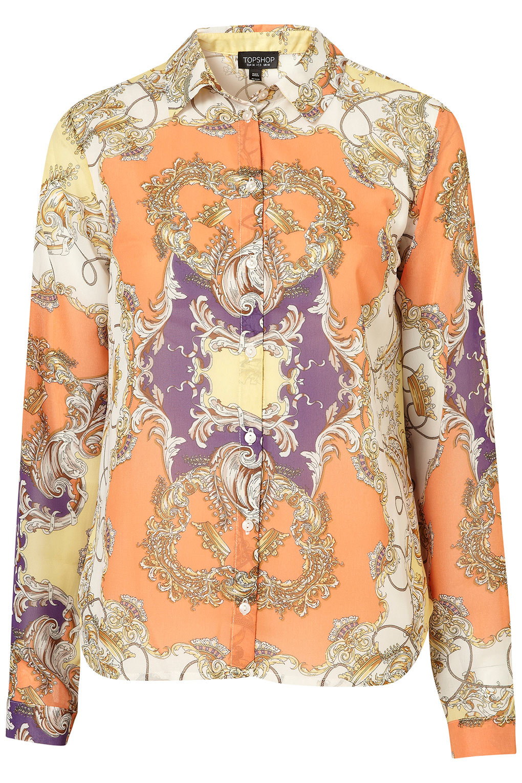 cb9ce939498 TOPSHOP Scarf Print Shirt - Lyst