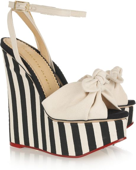 olympia meredith striped canvas wedge sandals in