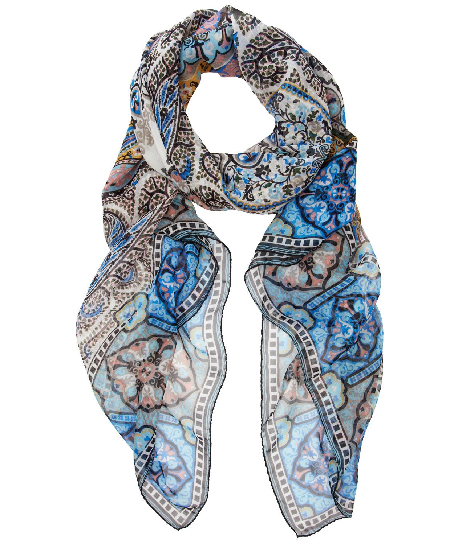 etro blue silk paisley print scarf in blue lyst