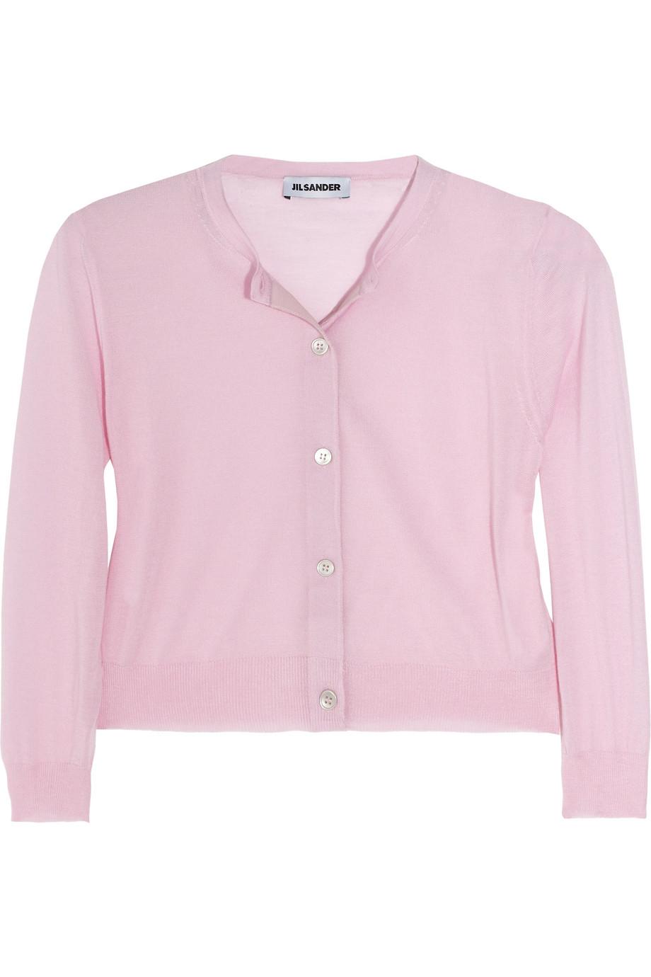 Jil sander Cropped Fine-Knit Cashmere Cardigan in Pink | Lyst