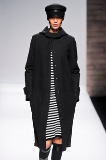 Max Mara Fall 2012 Long Wool Coat With Snap Fastening, Pockets And Hood In Dark Grey  - Lyst