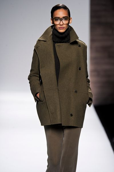 Max Mara Fall 2012 Double Breasted Wool PeaCoat With Button Closure And Pockets In Grey  in Green - Lyst