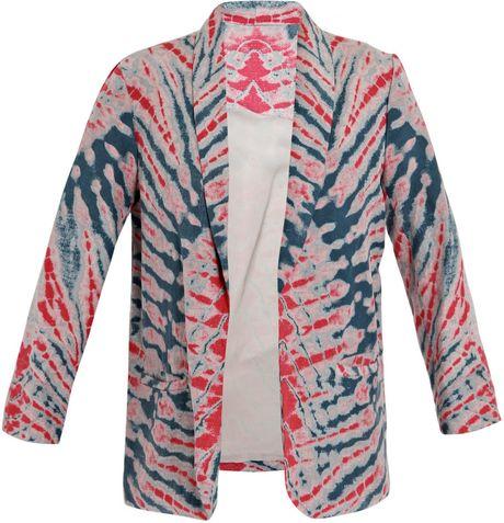 raquel allegra tie dye silk linen jacket in lyst